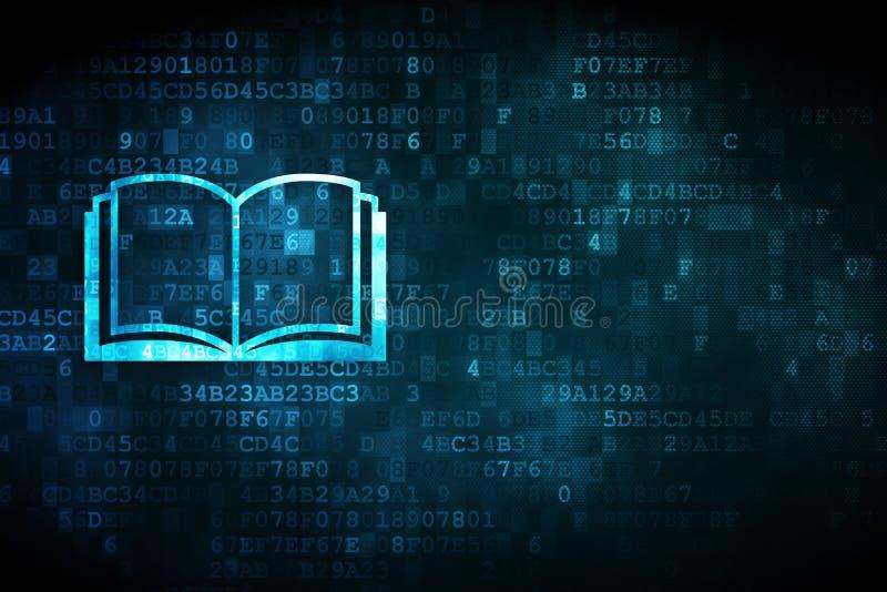 Aprendendo o conceito: Livro no fundo digital ilustração royalty free