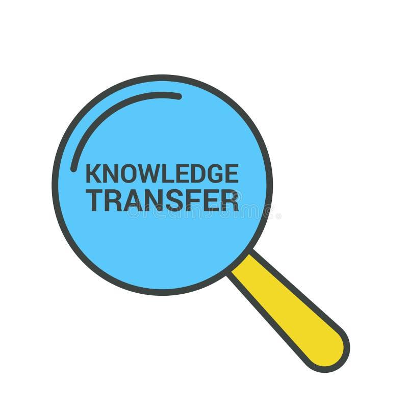 Aprendendo o conceito: Vidro ótico de ampliação com transferência do conhecimento das palavras ilustração stock