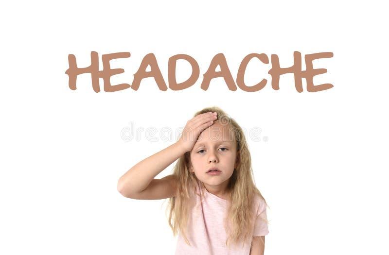 Aprendendo o vocabulário da língua inglesa eduque o cartão com a dor de cabeça da palavra fotos de stock