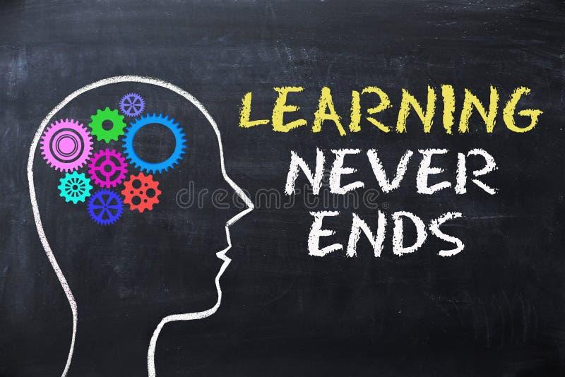 Aprender nunca termina a mensagem no quadro-negro com forma e engrenagens da cabeça humana imagens de stock
