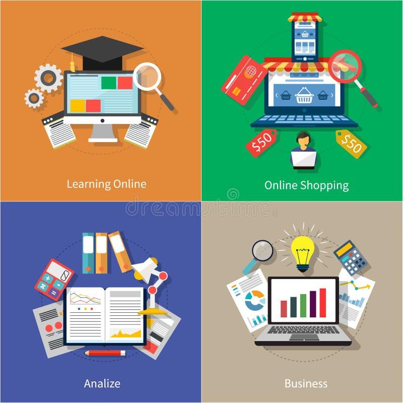 Aprendiendo en línea, haciendo compras, analize y negocio ilustración del vector