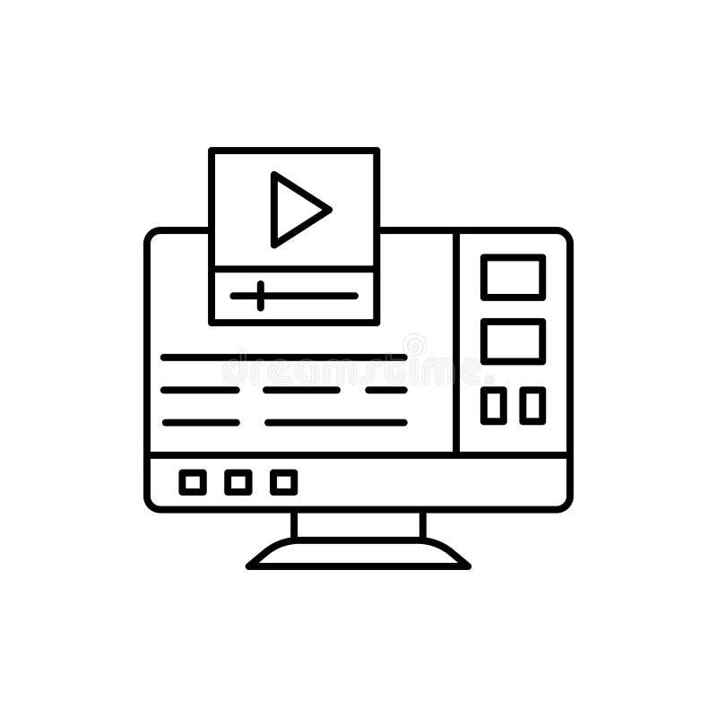 Aprendiendo, tutorial video, icono del ordenador Elemento de la línea icono de la educación stock de ilustración