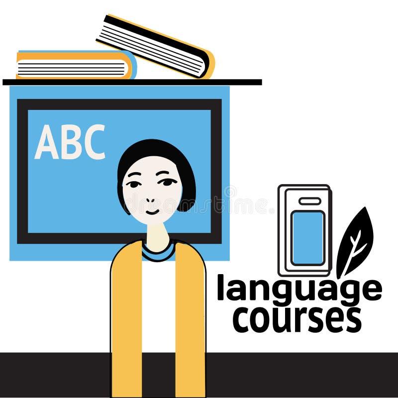 Aprendiendo una bandera conceptual del idioma extranjero dise?e el estilo plano La mujer del profesor ense?a a ni?os Ilustraci?n stock de ilustración