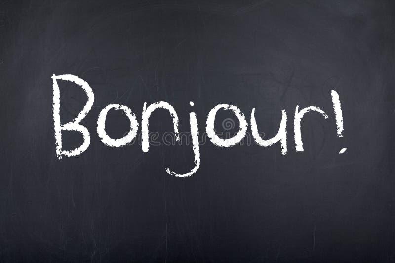 Aprendizado de línguas francesas Bonjour olá! fotografia de stock royalty free