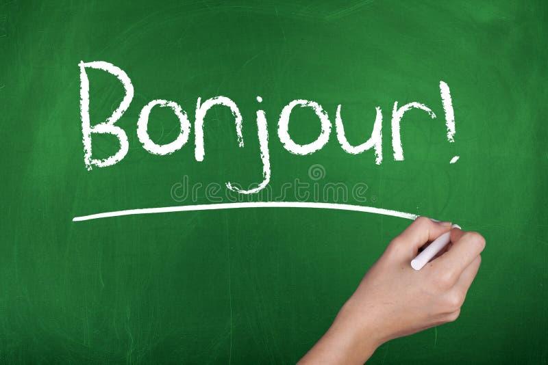 Aprendizado de línguas francesas Bonjour olá! foto de stock royalty free
