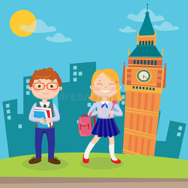 Aprendizado de línguas inglesas Crianças felizes em férias em Londres Vetor ilustração do vetor