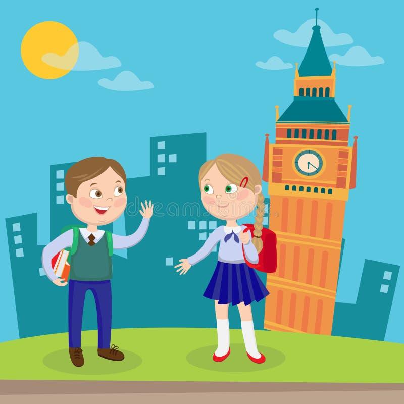 Aprendizado de línguas inglesas Crianças felizes em férias em Londres Vetor ilustração royalty free