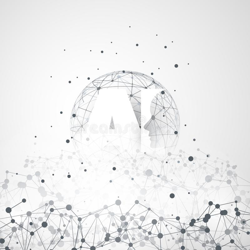 Aprendizagem de máquina, inteligência artificial, computação da nuvem e conceito de projeto das redes com malha geométrica da red ilustração royalty free