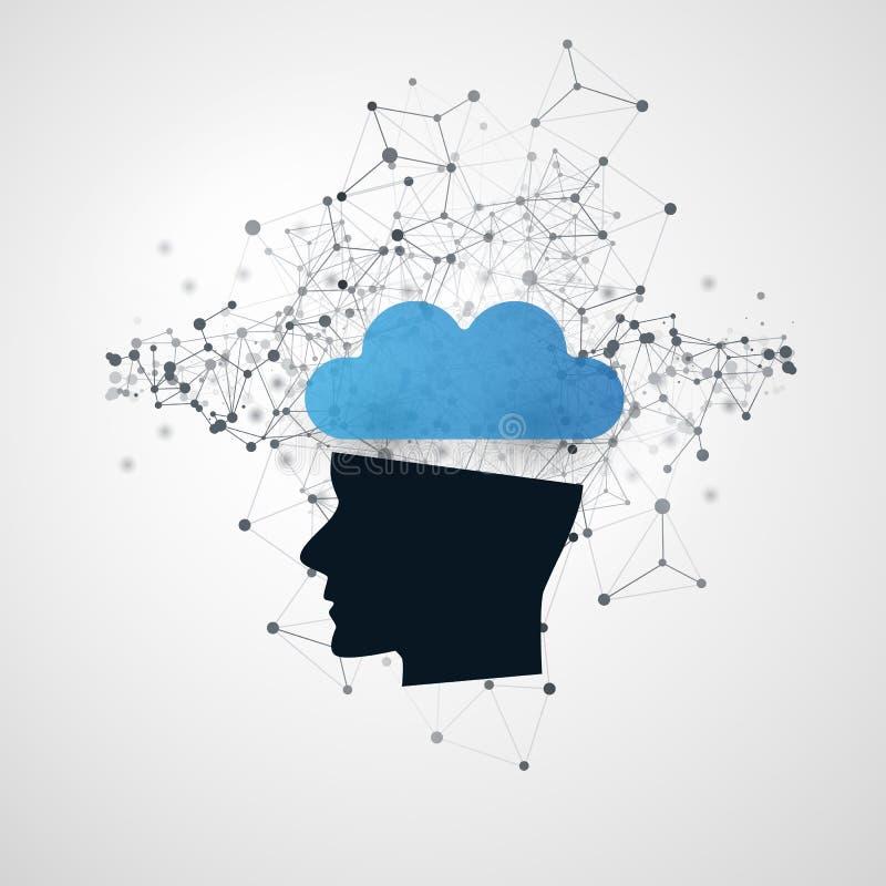 Aprendizagem de máquina, inteligência artificial, computação da nuvem e conceito de projeto dos trabalhos em rede com malha da re ilustração stock