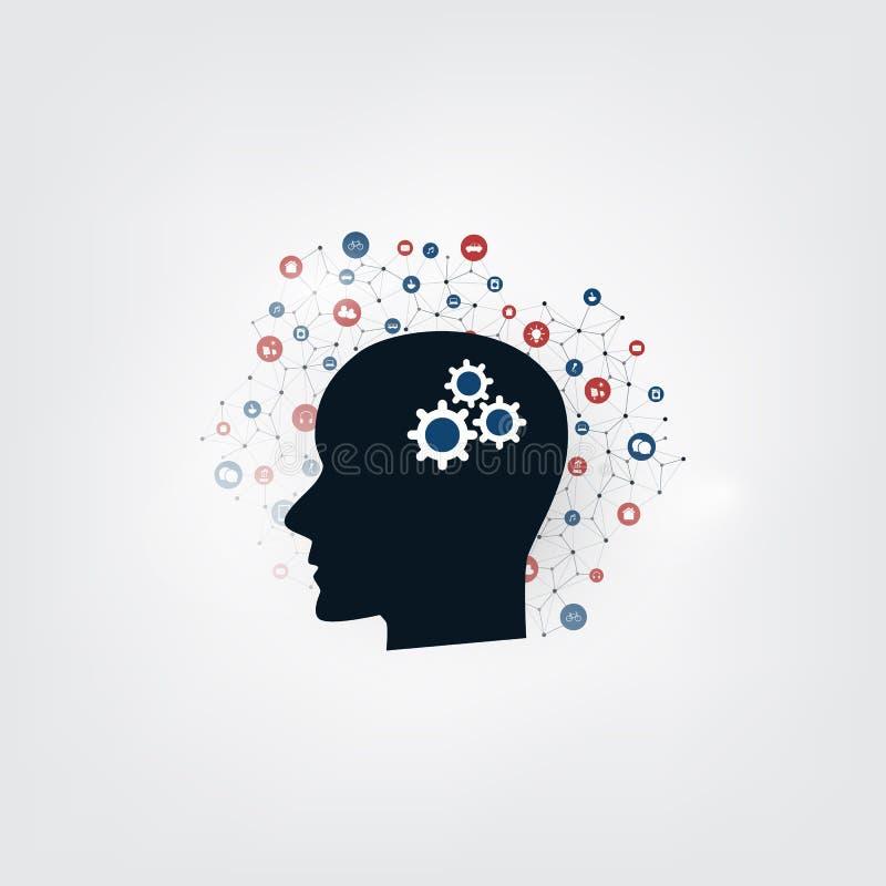 Aprendizagem de máquina, inteligência artificial e conceito de projeto das redes com ícones e cabeça humana ilustração do vetor
