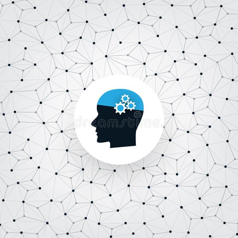 Aprendizagem de máquina, inteligência artificial e conceito de projeto das redes com Wireframe e cabeça humana ilustração royalty free