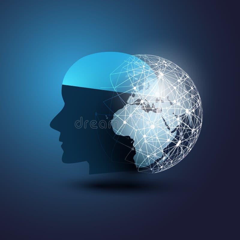 Aprendizagem de máquina, inteligência artificial, nuvem que computam, auxílio de apoio automatizado e conceito de projeto das red ilustração do vetor