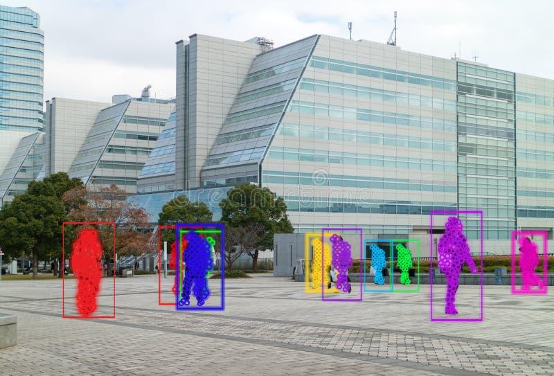 Aprendizagem de máquina de Iot com reconhecimento do ser humano e de objeto que usam a inteligência artificial a c das medidas, o fotos de stock