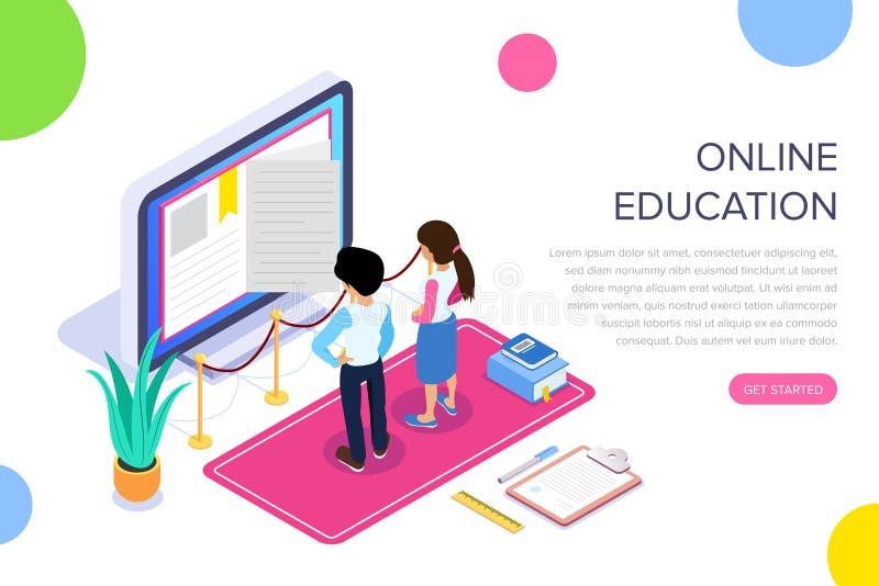 Aprendizagem em linha isométrica ou conceito tutorial video Método remoto de obter uma profissão nova O indivíduo e a menina ilustração do vetor