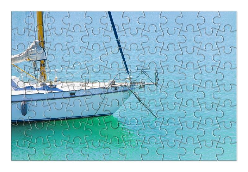 Aprendizagem montar ponto por ponto em uma imagem do conceito do veleiro - na forma do enigma fotos de stock