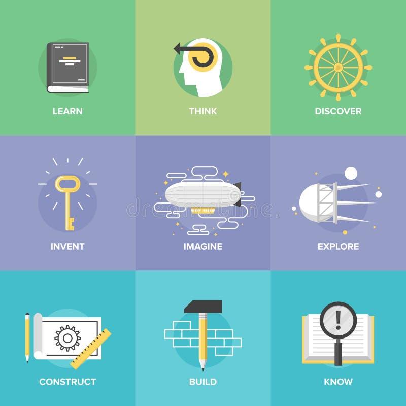 Aprendizaje creativo e iconos planos de la imaginación stock de ilustración