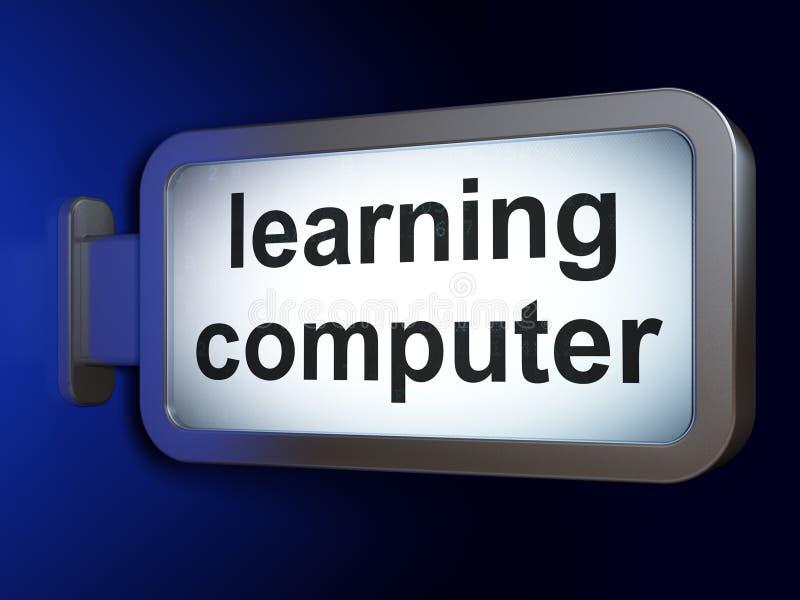 Aprendizaje de concepto: Aprendizaje del ordenador en fondo de la cartelera ilustración del vector