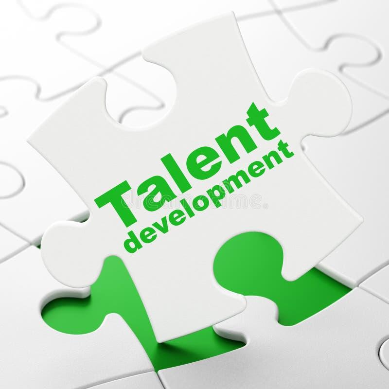 Aprendizaje de concepto: Desarrollo del talento en fondo del rompecabezas libre illustration