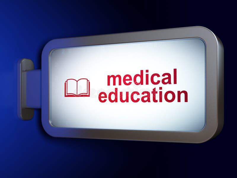 Aprendizaje de concepto: Educación médica y libro en fondo de la cartelera libre illustration