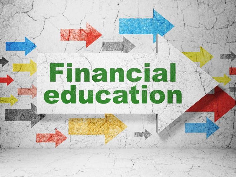 Aprendizaje de concepto: flecha con la educación financiera en fondo de la pared del grunge imágenes de archivo libres de regalías