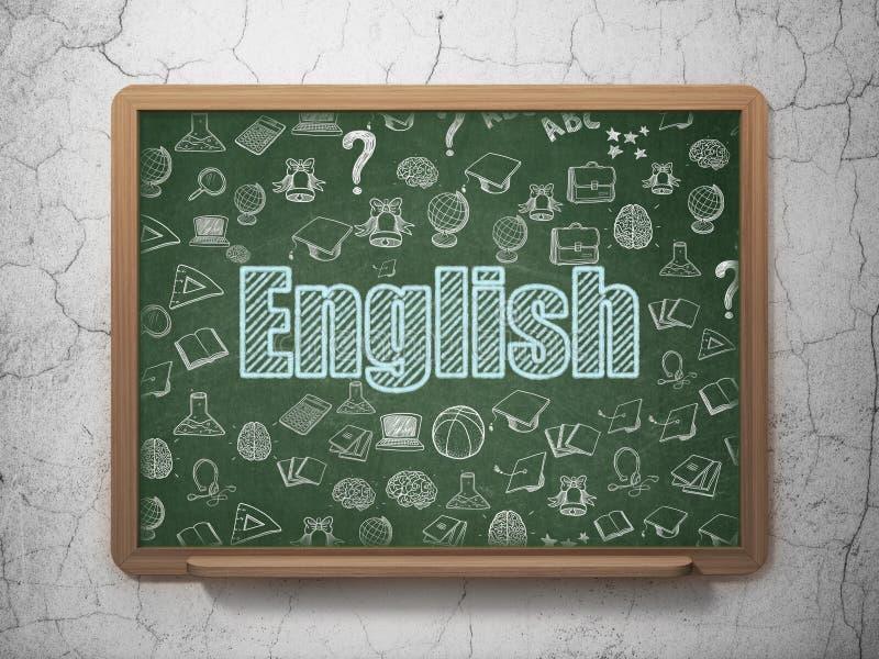 Aprendizaje de concepto: Inglés en fondo del consejo escolar stock de ilustración