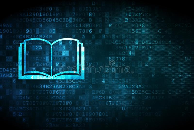 Aprendizaje de concepto: Libro en fondo digital libre illustration