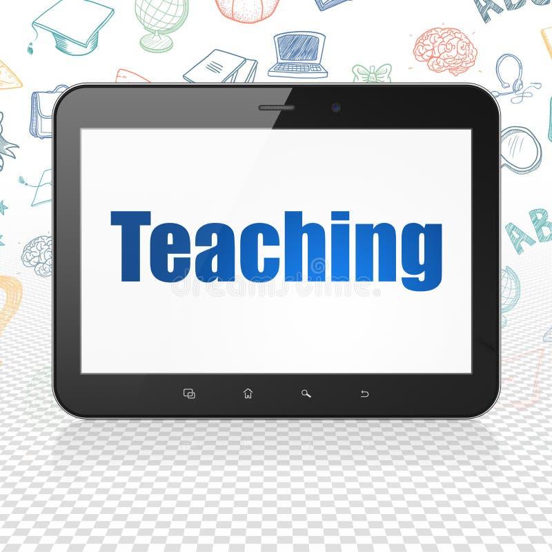 Aprendizaje de concepto: Tableta con la enseñanza en la exhibición ilustración del vector