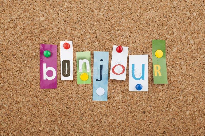 Aprendizaje de idiomas franceses Bonjour hola fotografía de archivo