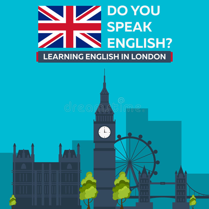 Aprendizaje de inglés en Londres Sity de Londres Educación en Inglaterra Diseño plano ilustración del vector