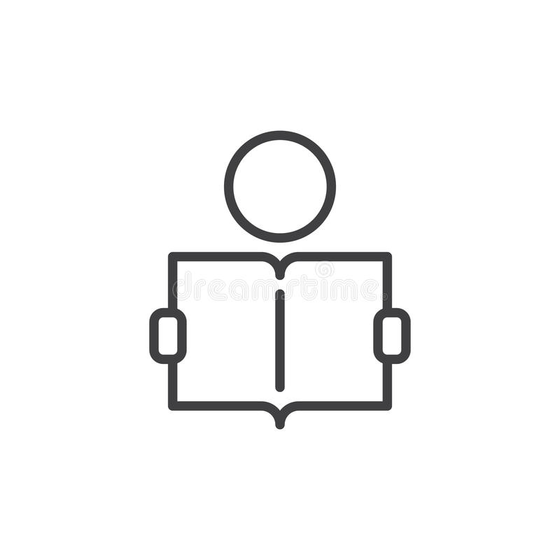 Aprendizaje de la línea icono, muestra del vector del esquema stock de ilustración