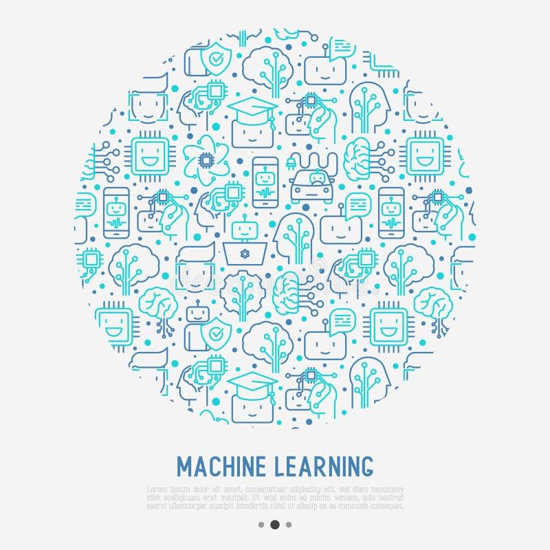 Aprendizaje de máquina, concepto de la inteligencia artificial libre illustration