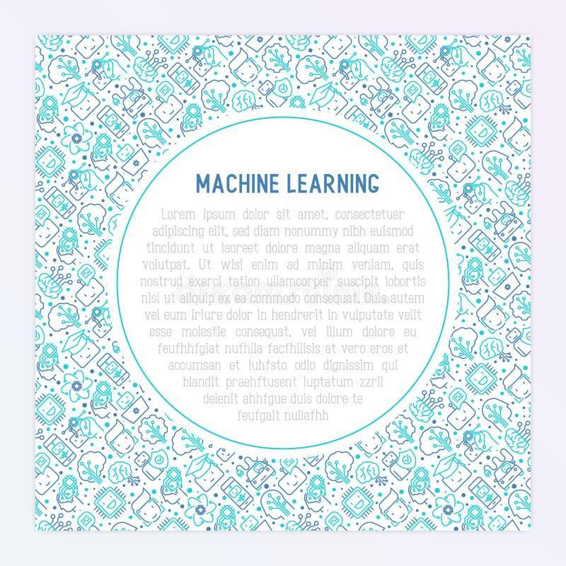 Aprendizaje de máquina, concepto de la inteligencia artificial stock de ilustración