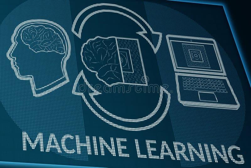 Aprendizaje de m?quina en la pantalla de los pixeles Opini?n de perspectiva del monitor o del mostrador de informaci?n con el cer stock de ilustración