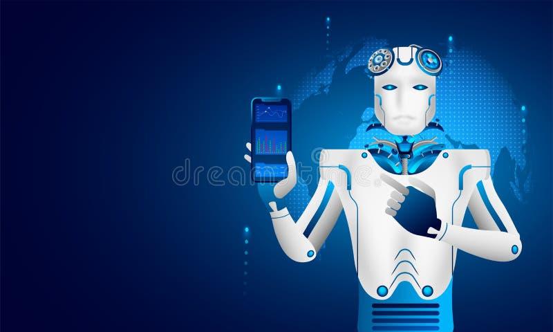 Aprendizaje de máquina o inteligencia artificial (AI), análisis del robot stock de ilustración