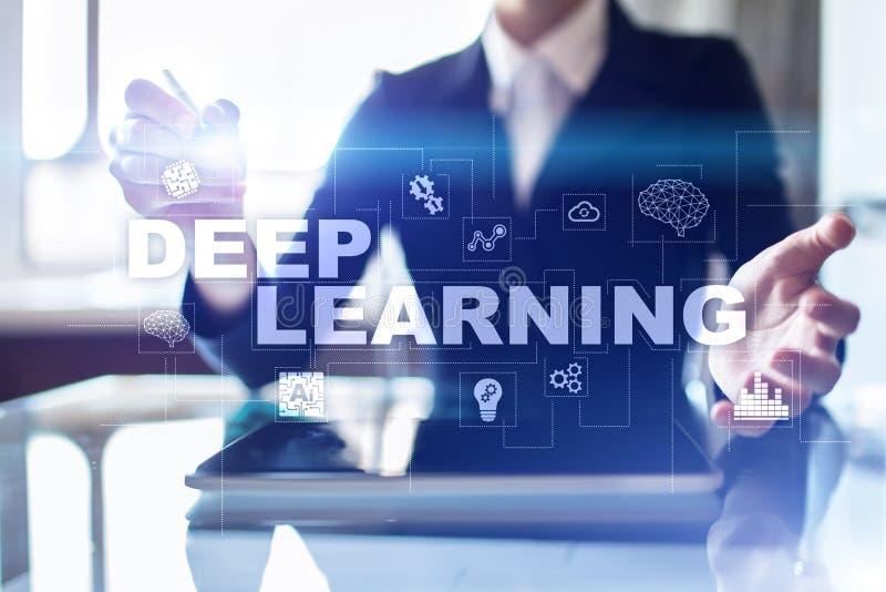 Aprendizaje de máquina profundo, inteligencia artificial en fábrica elegante o solución de la tecnología foto de archivo libre de regalías