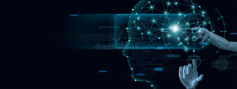 Aprendizaje de m?quina Mano del robot que toca en datos binarios Inteligencia artificial futurista A