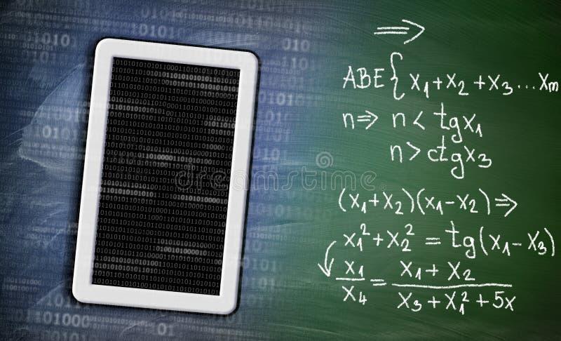 Aprendizaje de matemáticas con concepto del dispositivo de la tableta en la pizarra stock de ilustración