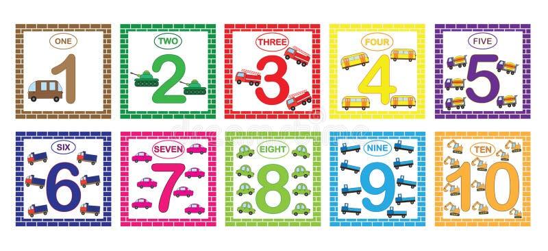 Aprendizaje de números, matemáticas con transporte de los coches Tarjetas flash con números a partir de la 1 a 10, sistema Juego  ilustración del vector