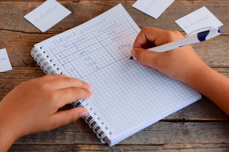 Aprendizaje del inglés básico Un pequeño niño está escribiendo pronombres sujetos Un cuaderno, una pluma, tarjetas con palabras e imagen de archivo libre de regalías