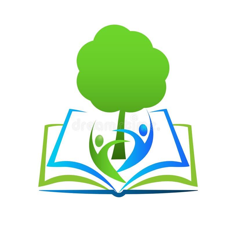 Aprendizaje del libro de la sabiduría, logotipo del vector de la biblioteca stock de ilustración