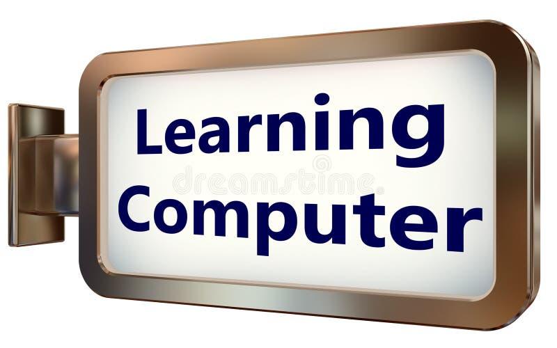 Aprendizaje del ordenador en fondo de la cartelera ilustración del vector