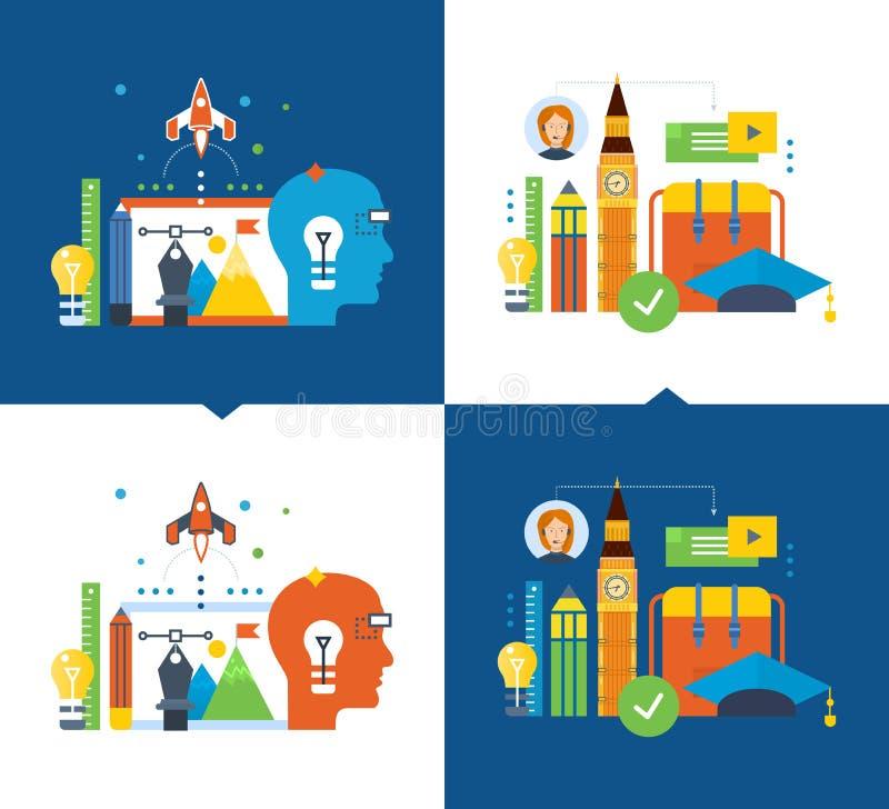 Aprendizaje a distancia moderno de la educación y, creatividad, pensamiento creativo, visión ilustración del vector