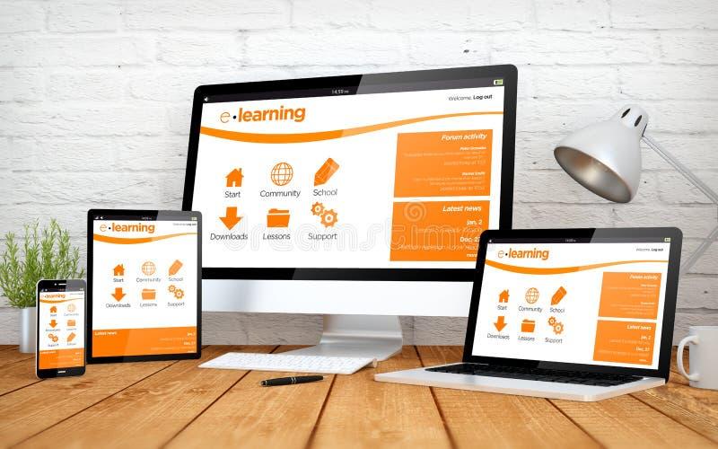 aprendizaje electrónico blanco de los multidevices de la pantalla foto de archivo libre de regalías