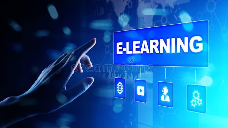 Aprendizaje electrónico, educación en línea, el estudiar de Internet Negocio, tecnología y concepto personal del desarrollo en la ilustración del vector