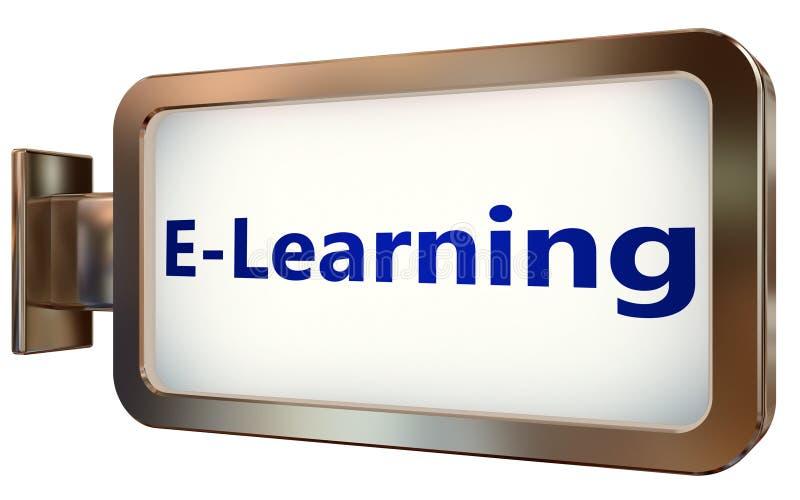 Aprendizaje electrónico en fondo de la cartelera ilustración del vector