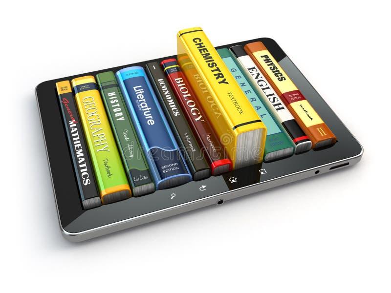 Aprendizaje electrónico PC y libros de texto de la tableta Educación en línea stock de ilustración