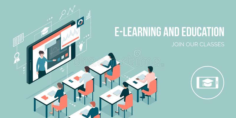 Aprendizaje electrónico y educación en línea stock de ilustración