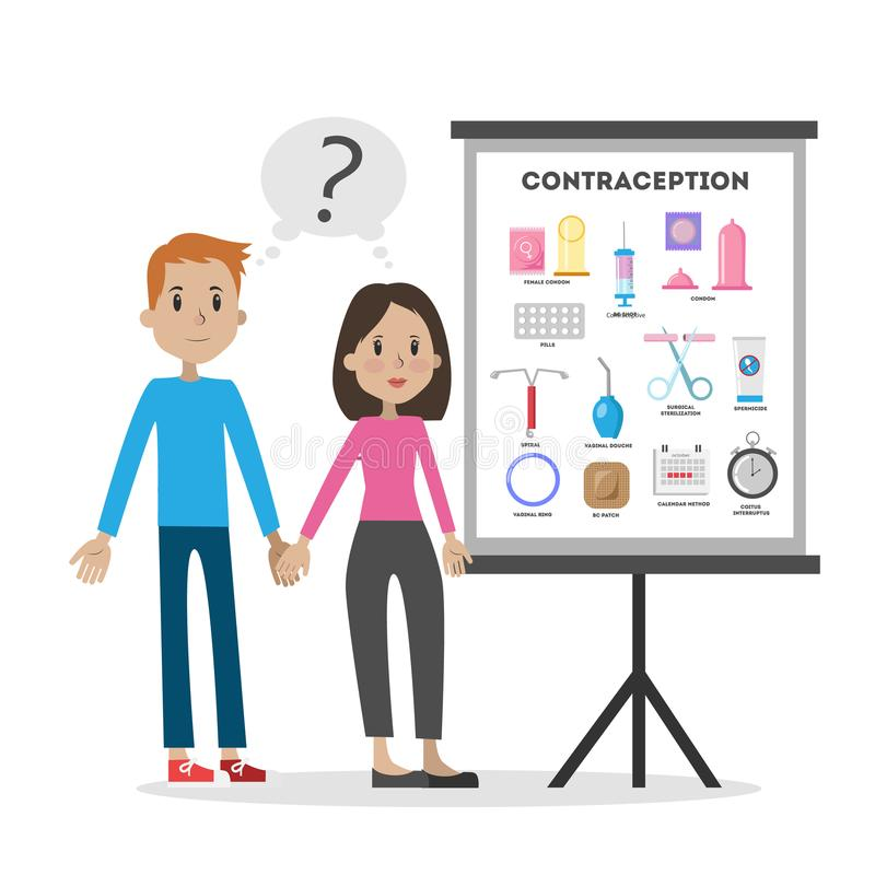 Aprendizaje sobre la contracepción stock de ilustración