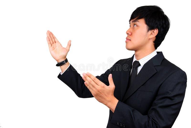 Apresentação asiática nova do homem de negócios. imagens de stock royalty free