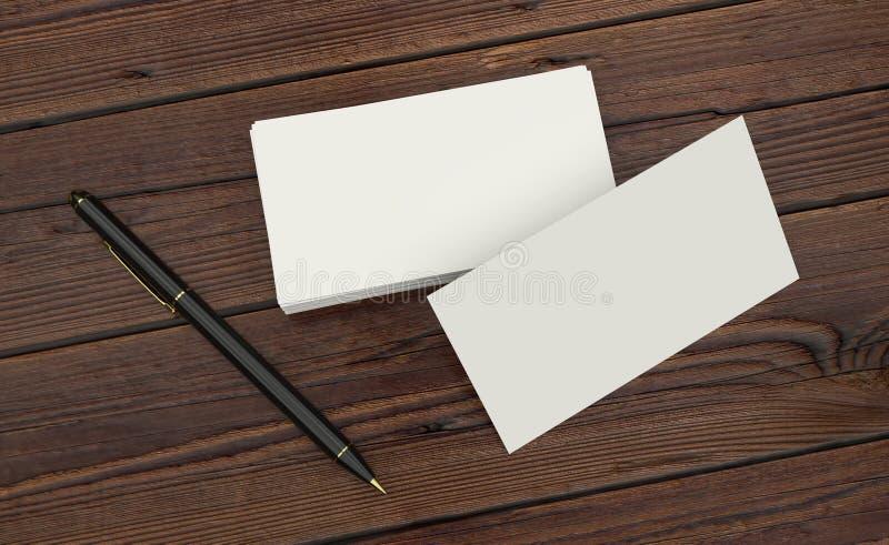 Apresentação branca vazia do cartão da identificação incorporada com a pena preta na tabela de madeira ilustração royalty free